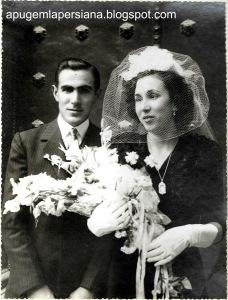 Casament de Joaquim Serdà i Joana Masana, filla de Celestí i Ramona (1941). Ambdós seguiran amb el negoci familiar de la fleca.